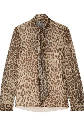 REDValentino Pussy-bow leopard-print silk-crepon blouse