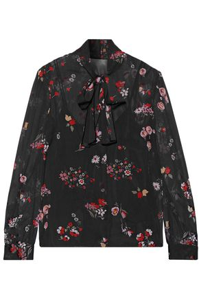REDValentino Pussy-bow printed stretch-silk chiffon blouse