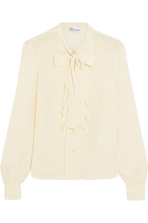 REDValentino Pussy-bow ruffled silk crepe de chine blouse
