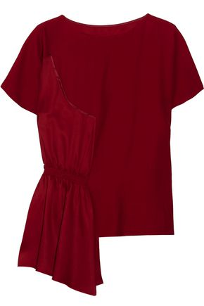 MM6 by MAISON MARGIELA Asymmetric crepe and smocked satin top