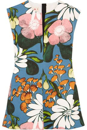 MARNI Floral-print cotton and linen-blend twill top