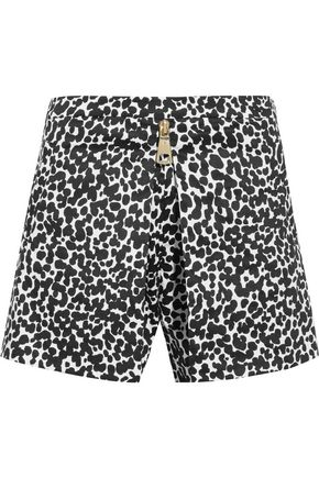 BOUTIQUE MOSCHINO Leopard-print cotton-blend poplin shorts
