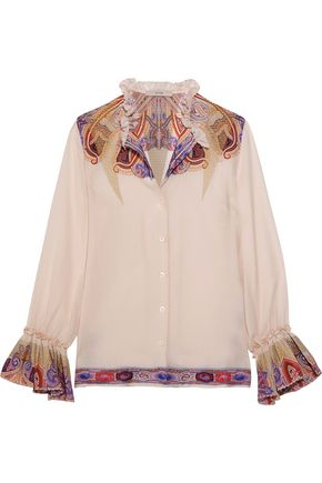 ETRO Ruffled paisley-print silk-georgette blouse