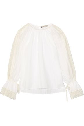 ETRO Lace-trimmed cotton-gauze blouse