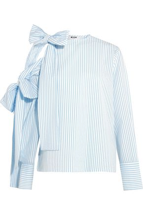 MSGM Bow-embellished cold-shoulder striped seersucker top
