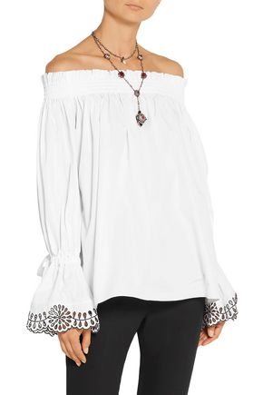 ALEXANDER MCQUEEN Off-the-shoulder broderie anglaise-trimmed cotton-poplin top