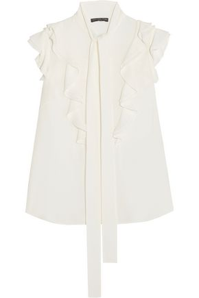 ALEXANDER MCQUEEN Pussy-bow ruffled silk-georgette blouse