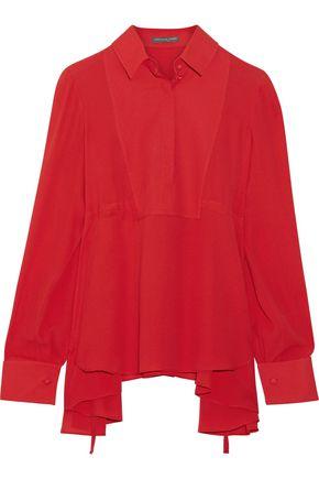 ALEXANDER MCQUEEN Asymmetric silk-georgette blouse