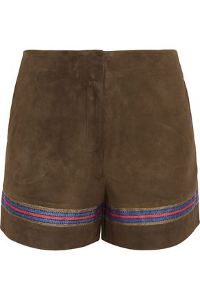 ZEUS + DIONE Mahi embroidered suede shorts
