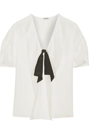 MIU MIU Ruched silk crepe de chine blouse