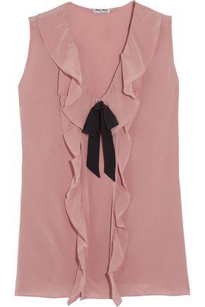 MIU MIU Pussy-bow ruffled silk crepe de chine blouse