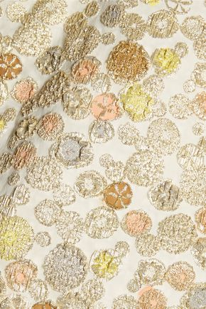 ROCHAS Cropped bow-embellished metallic jacquard top