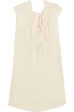 MARNI Ruffled crepe de chine top