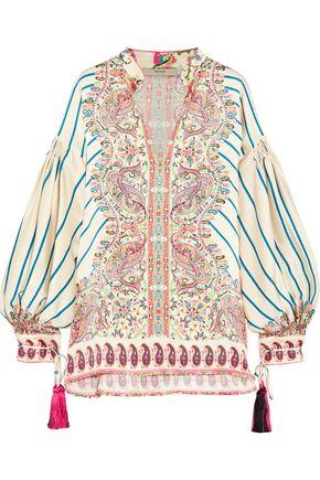 ETRO Tasseled printed silk-satin twill blouse