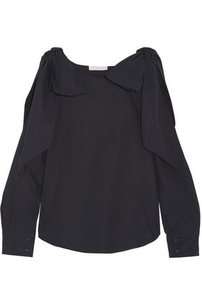 CHLOÉ Bow-detailed cotton-poplin blouse