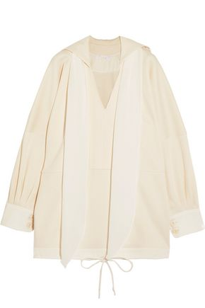 CHLOÉ Oversized tie-neck cotton-jersey tunic