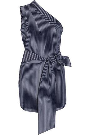 STELLA McCARTNEY One-shoulder pinstriped cotton-poplin top