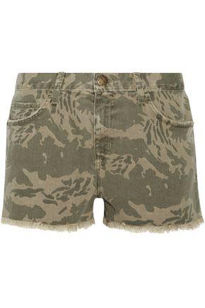 CURRENT/ELLIOTT The Boyfriend frayed camouflage-print denim shorts