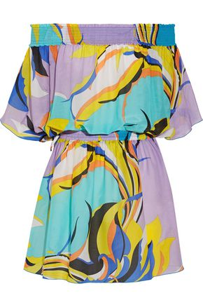 EMILIO PUCCI Fiore Maya off-the-shoulder printed cotton and silk-blend voile mini dress