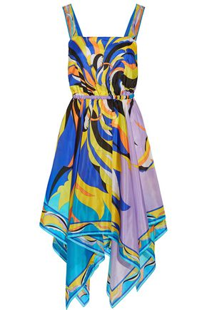 EMILIO PUCCI Fiore Maya asymmetric printed silk-chiffon dress