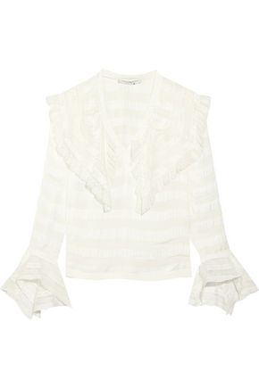 PHILOSOPHY di LORENZO SERAFINI Ruffled striped satin, voile and lace top
