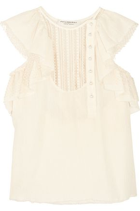 PHILOSOPHY di LORENZO SERAFINI Ruffled cotton, Swiss-dot and lace blouse
