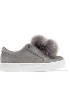 SAM EDELMAN Leya pompom-embellished suede platform slip-on sneakers