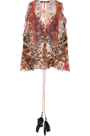 ROBERTO CAVALLI Ruffled printed silk-blend chiffon top
