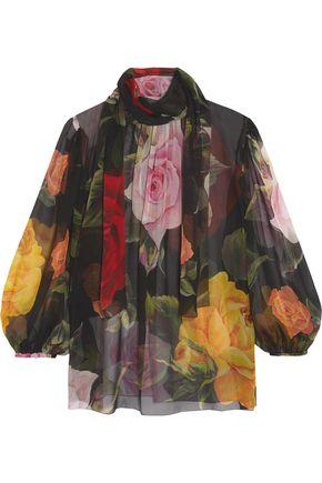 11da15e938e2b7 DOLCE   GABBANA Pussy-bow floral-print silk-chiffon blouse ...