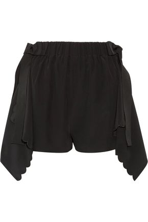 FENDI Scalloped draped silk crepe de chine shorts