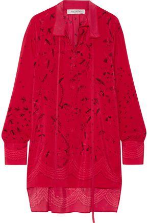 VALENTINO Asymmetric printed silk crepe de chine blouse