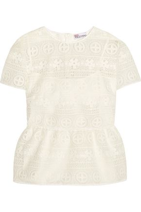 REDValentino Crocheted lace peplum top