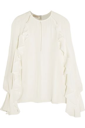 GIAMBATTISTA VALLI Ruffled cutout silk crepe de chine top