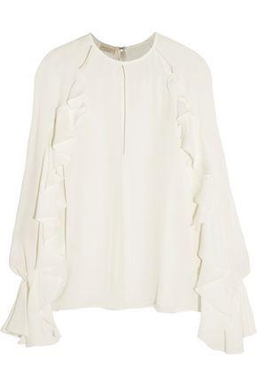 GIAMBATTISTA VALLI Ruffled cutout silk crepe de chine top