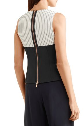TIBI Cecil striped linen-blend and stretch-crepe top