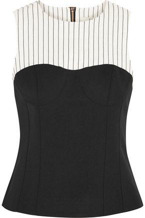 TIBI Cecil striped linen-blend and stretch-crepe top