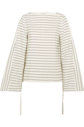 TIBI Striped cotton-poplin top