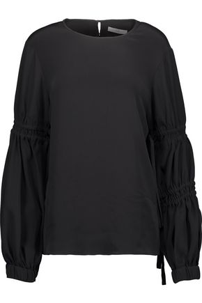 TIBI Smocked silk crepe de chine top