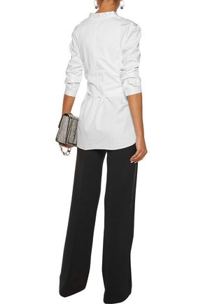 TIBI Tie-front cotton-poplin shirt