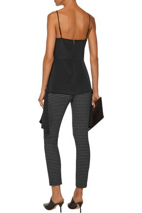 TIBI Asymmetric corset-effect silk-crepe camisole
