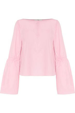 TIBI Gathered flared cotton-poplin top