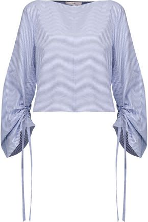 TIBI Elliot ruched striped cotton-broadcloth top