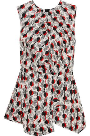 MARNI Knotted printed silk-jacquard top