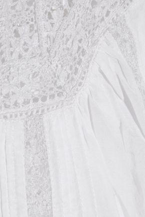 JOIE Seta crochet-paneled gauze top