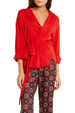 ISABEL MARANT Dorcey stretch silk and wool-blend wrap top