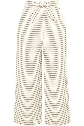 MARA HOFFMAN Cropped striped basketweave cotton-blend wide-leg pants