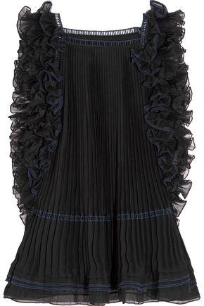 CHLOÉ Ruffled pleated silk-organza top