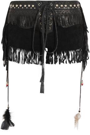 ROBERTO CAVALLI Fringed embellished suede shorts