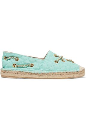 MOSCHINO Embellished quilted canvas espadrilles