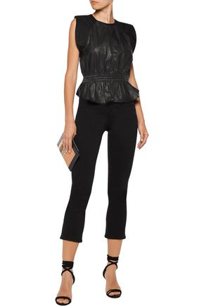 ISABEL MARANT Clive open-back silk-paneled leather top